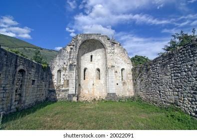 Ruined church at Campitello sul Clitunno, near Foligno (Perugia, Umbria, Italy)