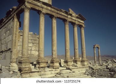 Ruined columns in the ancient city  of Palmyra, Syria, Middle East