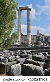 Ruined columns of ancient temple of Apollo in Didim, Turkey