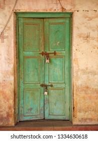 Ruined door with a lock