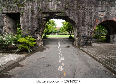 Ruined gate in in Fort Santiago,  Intramuros district of Manil , Philippines.