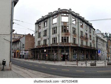 Ruined hospitals, schools and government  buildings after war of the Bosnia and Herzigovina. Feb 2013