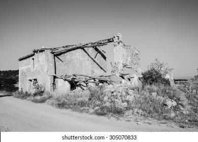 "Ruined house belonging to the abandoned village of ""La Cornudilla"" Requena, Valencia, Spain"