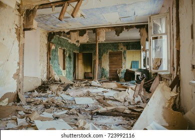 Ruined house building inside after disaster, war, earthquake, Hurricane or other natural cataclysm, toned