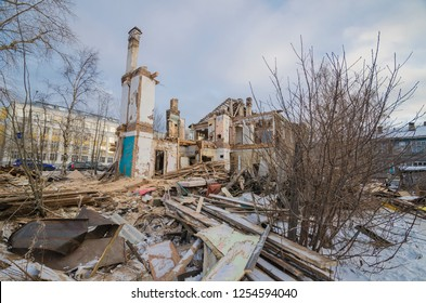Ruined house. Demolition of a building