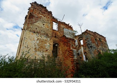 Ruined house in Open air museum of the Croatian War of Independence (1991-1995) in Karlovac, Croatia