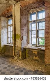 Ruined interior of the Patarei (former sea fortress and prison) in Tallinn, Estonia.