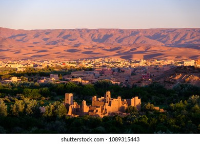 Ruined kasbah in Valley of Roses above Kalaat M'Gouna in Morocco