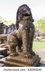 Ruined Lion stone statue at Prasat Bayon, Siem Reap, Cambodia.