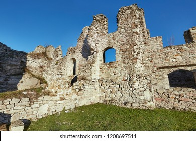 Ruined medieval castle wall detail