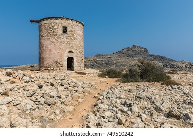 A ruined mill on the way to the Kleoboulous's tomb in Lindos on the Rhodes Island, Greece.