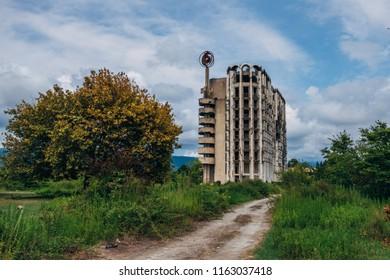 Ruined overgrown sanatorium, consequences of war in Abkhazia.
