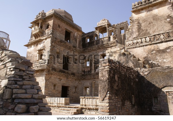 ruined palace complex in Fort Chittorgarh