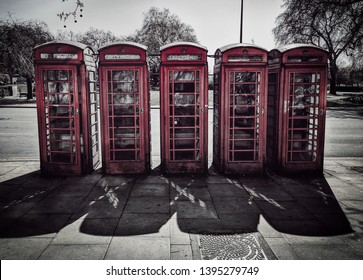 ruined phonebooth that are not used anymore, a typical symbol of London, England