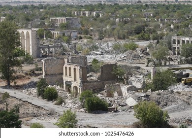 Ruined soviet-era buildings in Agdam, ghost town in Nagorno-Karabakh (Artsakh) republic