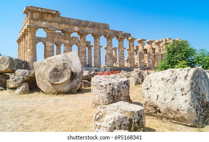 Ruined temple in the ancient city of Selinunte, Sicily, Italy Europe