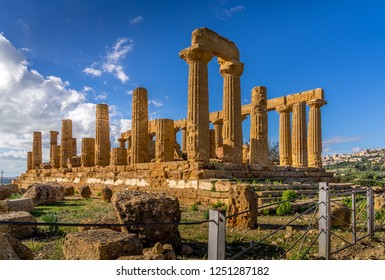 Ruined Temple of Heracles columns in famous ancient Valley of Temples, Agrigento, Sicily, Italy. UNESCO World Heritage Site.