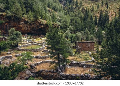 Ruined village in Samaria Gorge National Park of Greece on Crete island