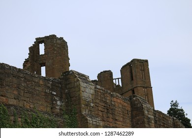Ruined walls inside perimeter wall from an English castle. Ruined walls inside a round perimeter wall from an English castle.
