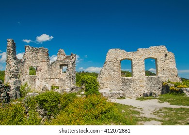 Ruined walls of the old abandoned medieval fortress Samobor, Croatia