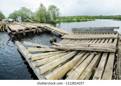 Ruined wooden bridge