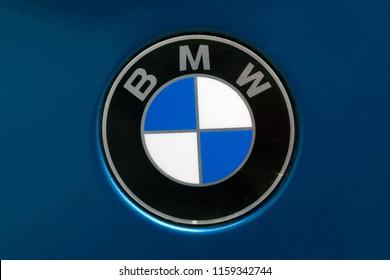 Ruinen, Netherlands-August 18, 2018: logo of BMW on motorcycle, Netherlands