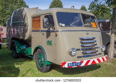 Ruinerwold, The Netherlands - 16 august 2014: Old timer and tractor festival - old DAF garbage collection truck
