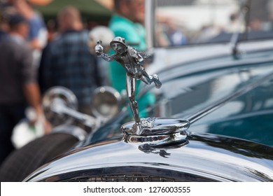 Ruinerwold, The Netherlands - 16 august 2014: Old timer and tractor festival - poppet in front