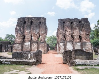 Ruines of a palace which once was seven stories high. It was called Vijayotpaya or Vijayanta. Polonnaruwa, Shri Lanka