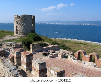 The ruinous tower with wall on the ancient Bulgarian town Nessebar.