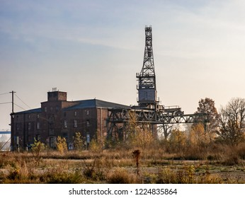 Ruins of abandoned building and crane in Gdansk, Poland.  Post apocalyptic/nuclear fallout concept image.