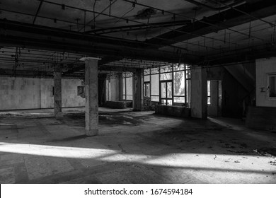 Ruins of abandoned buildings in 1986. Soviet architecture in Chernobyl. Danger of infection of people with the virus, radiation. Scary Grunge Background