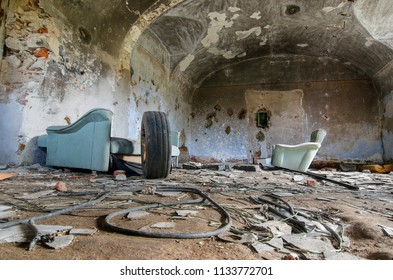 Ruins of abandoned historic farm buildings - cozy room