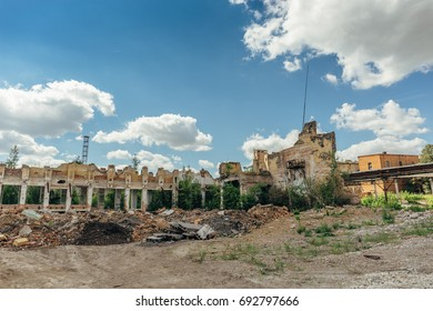 Ruins of abandoned industrial building, can be used as demolition, earthquake, bomb, war or natural disaster concept
