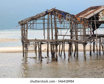 Ruins of an abandoned traditional fishermen wooden house on stilts