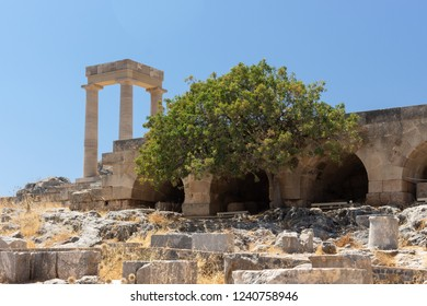 ruins at the Acropolis of Lindos at Rhodes in Greece