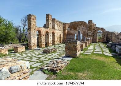 The ruins of Agios Achillios basilica at the Small Prespa Lake, Macedonia, Greece.