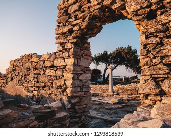 Ruins of Aliki stone quarry and marble port on the island of Thasos (Thassos), Greece