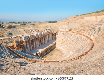 Ruins of the amphitheater in ancient Hierapolis, Turkey