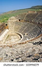 ruins of amphitheater in Hierapolis,Turkey,Pamukkale.