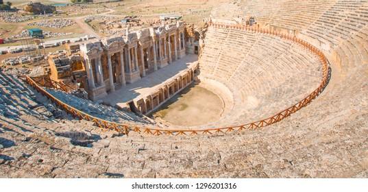 Ruins of the amphitheater - Roman amphitheater in ancient city Hierapolis near Pamukkale, Turkey
