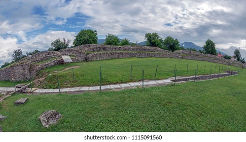 Ruins of the the amphitheatre inside of the antique province Dacia Apulensis,Sarmizegetusa,Hateg Country, Romania.Place of struggles between gladiators.It was founded around the years 106 to 110 d.Hr.
