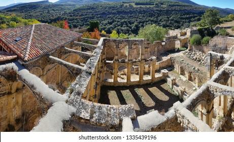 Ruins of an ancient abandoned monastery in Santa Maria de rioseco, Burgos, Spain.