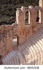 Ruins of ancient amphitheatre are in Greece