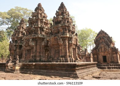 Ruins of ancient Angkor temple Banteay Srei, Cambodia