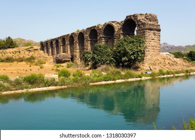 The ruins of an ancient aqueduct near the town of Aspendos. Turkey.