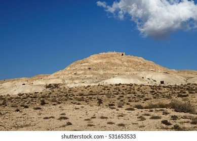 Ruins of the ancient Avdat (Ovdat) town on top of the desert hill in Israel