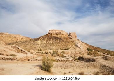 Ruins of ancient Ayaz-Kala Fortress on sunny day, Karakalpakstan, Uzbekistan, Central Asia