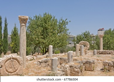 Ruins of ancient basilica on Shepherds Fields in Beit Sahour a Palestinian town east of Bethlehem, Palestine.