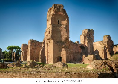 Ruins of ancient Baths of Caracalla, old buildings of Roman Empire in Rome Italy